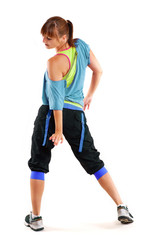 junge Frau in farbigen Sport Outfit