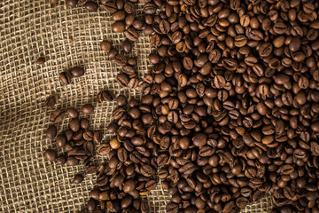 Coffee beans on a burlap.
