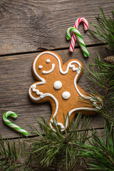 Gingerbread cookie and candy canes on wooden background.