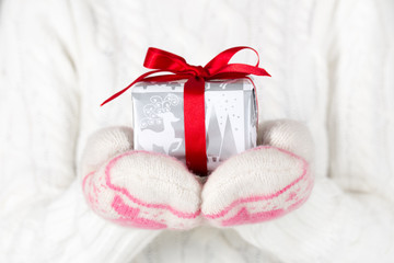 Female hands holding small Christmas gift with red bow.