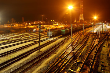 The railway station at night