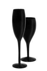 Black wine and champagne glasses on white background.
