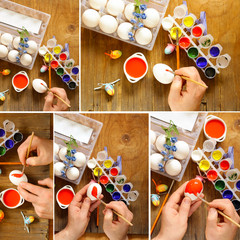 collage coloring Easter eggs paint and brushes