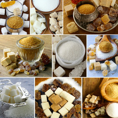 collage assortment of sugar (refined sugar, white, brown)