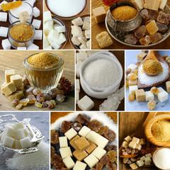 collage assortment of sugar (refined sugar, white, brown)