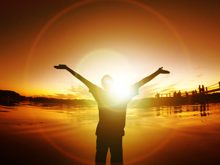 Man with arms outstretched Silhouette Freedom Sunset Energy Life