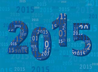 2015 - Carte Voeux - Nouvel An - Année en Chiffres