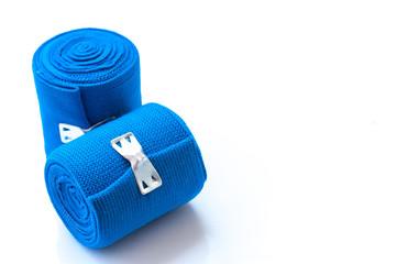 Medical blue elastic Bandage isolated on white background