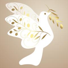 taube,friedenstaube,oliven,olivenzweig,weiß,gold,floral,deko