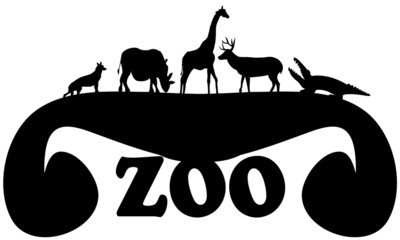 Zoo Sign with Multiple Wild Animals