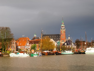 Leer, touristic harbor and the traditional boats