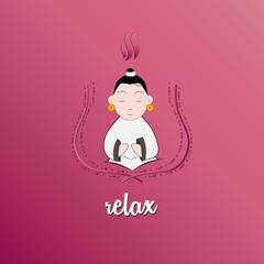 Relax yoga kid illustration vector for business