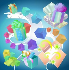 Conveyor with multi-colored gift wrap different shapes