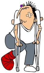 Banged up man on crutches