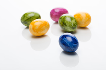 easter eggs in different colors