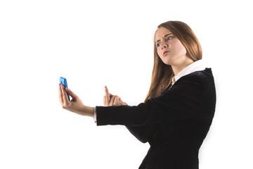 Business woman show fuck finger