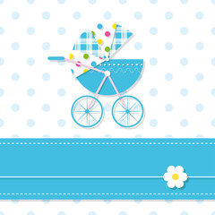 baby boy stroller greeting card
