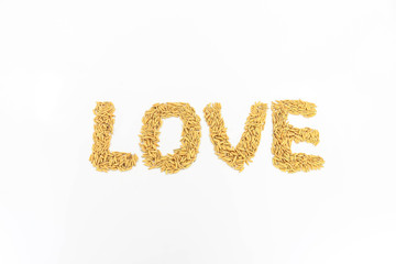 Jasmine rice arranged as alphabetically love.