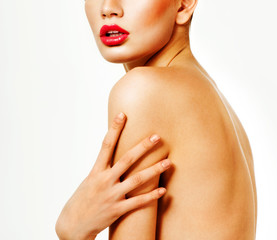 Beautiful woman with professional makeup. Perfect skin.