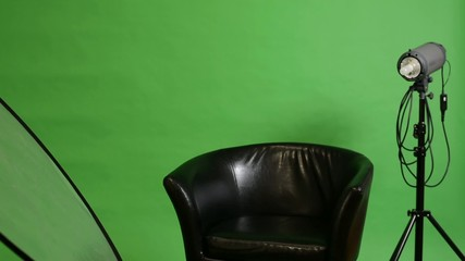 studio-chair and photographic equipment-green screen