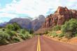Leinwanddruck Bild - Canyon road mountains