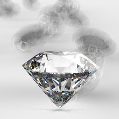 Diamonds 3d composition on grey background