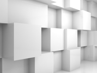 Abstract empty white 3d interior with cubes on wall