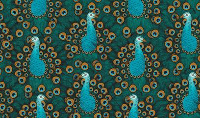 Peacock. Seamless vintage pattern