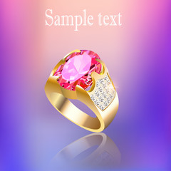 background with gold ring gem and reflection