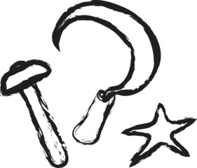 cartoon sickle, hammer and star design elements