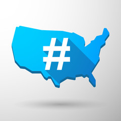 USA map icon with a hash tag