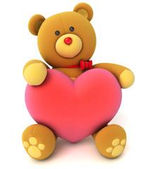 Toy teddy bear holding a heart