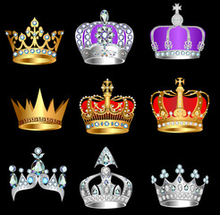 set of crowns with precious stones on a black background