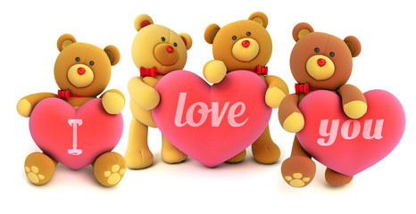 Funny teddy bears holding big heart with the words I love you