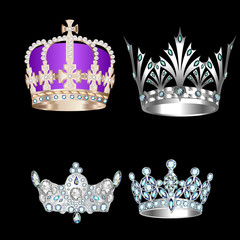 set of vintage crowns on a black background
