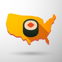 USA map icon with a sushi