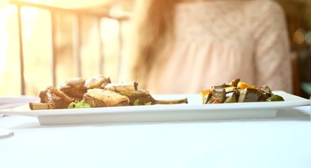 Lamb Cutlets Plate Gourmet Restaurant Five Star Hotel Woman