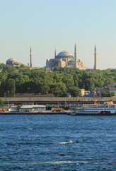 Gulf Gold horn and mosque Hagia Sophia. Istanbul, Turkey