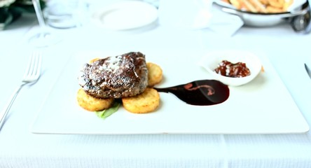 Grilled Beef Stake Food Dinner Luxury Restaurant Roasted Dish