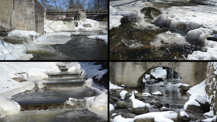 river waterfall cascade retro bridge frozen ice icicles winter