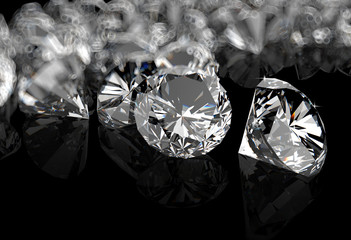 diamonds on black surface