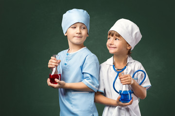Couple of young doctors in studio