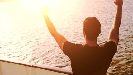 Attractive Happy Young Man Cruise Ship Ocean Waves Sunset Travel