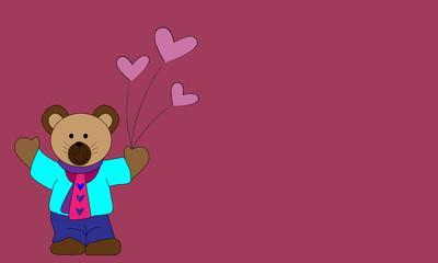 Osito con globos de corazones.
