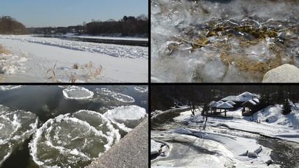 Ice floe floating on river water in winter season beautiful tale
