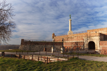 Belgrade fortress and Kalemegdan park with Victor monument