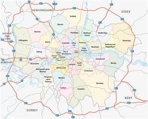 greater london road and administrative map