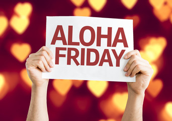 Aloha Friday card with heart bokeh background