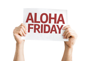 Aloha Friday card isolated on white background