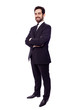 Full body portrait of a happy business man, isolated on white ba